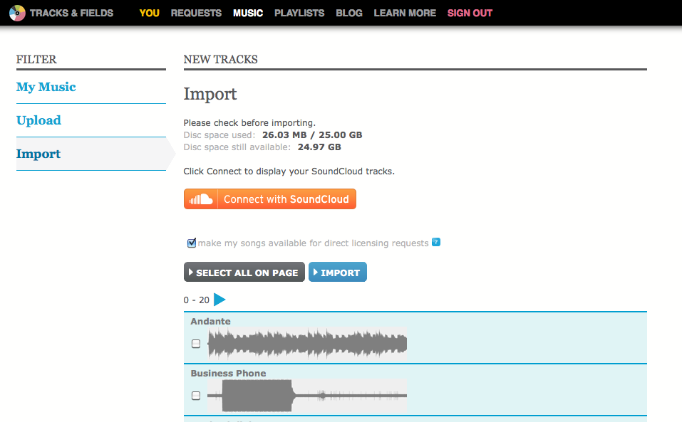 Improved Artist features on Tracks & Fields: Part One (Uploading and